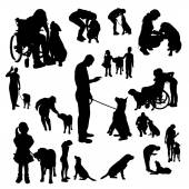Vector silhouette of people with a dog. — Stock Vector