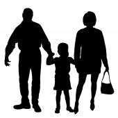 Vector silhouette of family. — 图库矢量图片