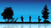 Vector silhouet van kinderen. — Stockvector