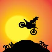 Vector silhouettes of biker. — Stock Vector