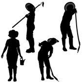 Vector silhouette of a gardener. — Vecteur