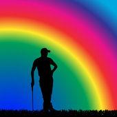 Vector silhouette of golfer. — Stock Vector