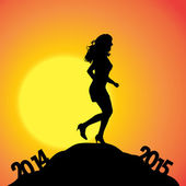 Woman at the turn of the year. — ストックベクタ