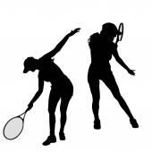Women  play tennis. — Stock Vector