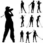 Women playing  golf. — Stock Vector