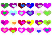 Tło z kolorowych serc. — Wektor stockowy