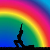 Woman who trains on rainbow — Stock Vector