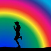 Woman who running in nature. — Stockvektor