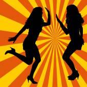 Silhouette women dancing — Stock Vector