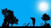 Silhouette of a gardener. — Stock vektor