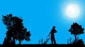 Silhouette of a gardener. — 图库矢量图片