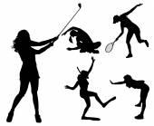 Kobiety w różnych dyscyplinach sportowych. — Wektor stockowy