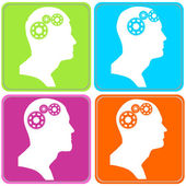People with gears in head — Stock Vector