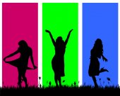 Silhouettes of women. — Stock Vector