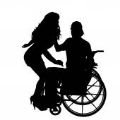 Man  in  wheelchair with  girl. — Stock Vector