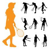 Women who play tennis. — Vector de stock
