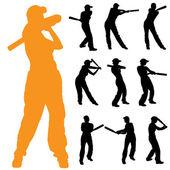 Women who play baseball. — Stok Vektör