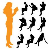 Silhouettes of a women — Stock Vector