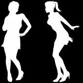 Silhuetten av en kvinnor — Stockvektor