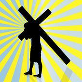 Jesus with the cross. — 图库矢量图片