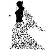 Silhouettes of woman with butterflies — Stock Vector