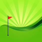Silhouette of golf on green — Stock Vector