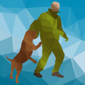 Low poly silhouette dog training — Stock Vector