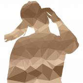 Low poly silhouette woman — Stock Vector