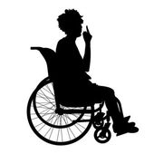 Silhouette of a woman in a wheelchair — Stock Vector