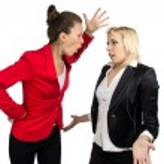 Boss woman yelling at a subordinate — Stock Photo #52778483