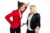 Boss woman yelling at a subordinate — Stock Photo