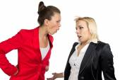 Boss woman yelling at an employee — Foto de Stock