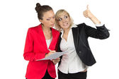 Two businesswoman discussing something — Stock Photo