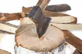 Image of axe in the stump and firewoods — Foto de Stock