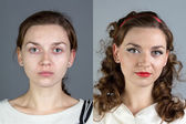 Portrait of young woman before and after make up — Stock Photo