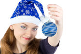 Photo of woman with christmas balls in hat — Stok fotoğraf