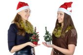 Image of two women with christmas fir tree — Stockfoto