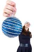 Image of the woman with christmas ball — Stockfoto