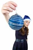 Photo of the woman with christmas ball — Stockfoto