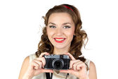 Photo of the happy woman with retro camera — Stock Photo