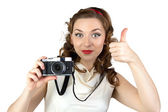 Image of the pinup woman with thumb up — Stock Photo