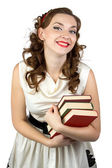 Image of the smiling woman with books — Stock Photo