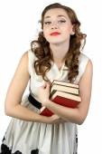 Photo of the pinup woman with books — Stock Photo