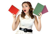 Portrait of the pinup woman with books — Stock Photo