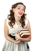 Portrait of the smiling woman with books — Stock Photo