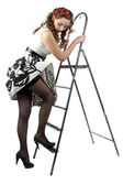 Photo pin up woman down the stairs — Stock Photo