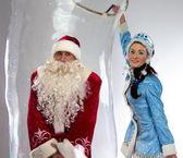 Photo of happy Santa insede the soap bubble — Stock Photo
