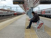 Photo of man waiting the train — Stock Photo