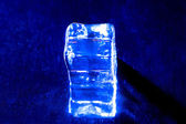 Photo of one blue ice cube — Stok fotoğraf
