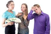 Brainstorming in Büro - drei junge Leute — Stockfoto